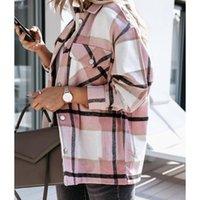 Women's Jackets Fashion Women Plaid Shirt Collar Turn-down Autumn Oversized Jacket Loose Coat Streetwear Female Outwear