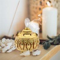 Fragrance Lamps Metal Incense Burner Holder Home Ash Catcher Ornament Censer Dome With Lid