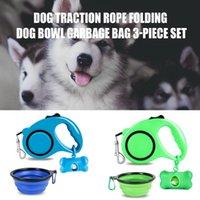 Retractable Dog Leash With Detachable Poop Bag Dispenser & Water Bowl For Pet One-Handed Brake Pause Lock Max 16.4ft. Hogard Collars Leashes