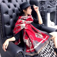 Spring and autumn new cashmere like warm neck women's thickened air conditioning shawl carriage Chain Pattern Scarf