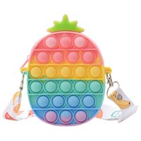Fidget Push Bubble Sensory Toy Silicone Figetget Popits Fruit Shapes Crossbody Shoulder Bag Coin Purse Wallet for Girls School Supplies, DHL 3-7 Days Delivery - C 50
