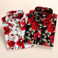 Dioufond Women's Floral Print Blouses Cotton Shirts Women Vintage Turn-Down Collar Tops Ladies Work Long Sleeve Blouse &
