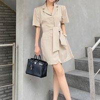 Mulheres moda 2021 verão elegante terno terno colar lace-up cintura alta slim retro cor sólido vestido vestidos