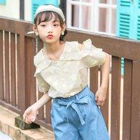 Shirts Arrivals 2021 Off Shoulder Blouses Teenage Girls Cotton Striped Pattern Kid Clothing Summer Short Sleeve Shirt Blouse
