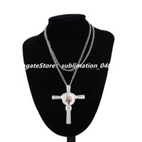 Sublimation Hot Transfer Printing Jewelry Necklace Blank Couple Cross Charms Pendant with Snap Button and Aluminum Sheet