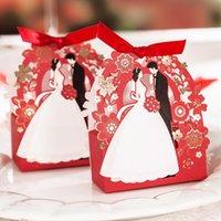 로맨틱 웨딩 선물 상자 우아한 레드 럭셔리 게스트 선물 꽃 Groombride 레이저 잘라 달콤한 호의 사탕 상자 GWB8316