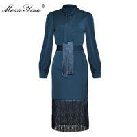 MOAAYINA Moda Kariyer Ofis İki Parçalı Suit Bahar Kadın Yay Colla Zarif Gömlek Üstleri + Seksi Paket Kalça Püskül Etek Seti 210407
