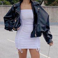 Women's Jackets PU Leather Jacket Long Sleeve Turn Down Collar Zipper Pocket Female Coats 2021 Autumn Winter Black Streetwear Lady Coat