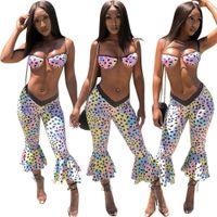 Повседневные костюмы пляжа мода напечатанные одежда сексуальные Ruffer женщины тощий костюмы летняя в горошек 2 шт.