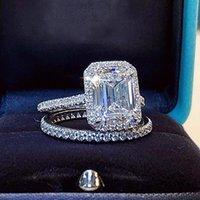 Emeraude Cut Tache 2ct Diamond Bague Diamond Sets Real 925 Sterling Silverengagement Bagues de mariage Bagues pour femmes Bridal Gem Bijoux