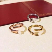 Classic 2021 high quality luxury nail ring with diamonds at the head and tail charm love original packaging gift box
