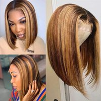 Highlight Human Hair Bob Wigs Straight 13x4 Lace Front HumanHair Wig Brazilian Remy Colored 4 27 Short BobWig