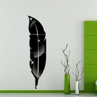 Decoración del hogar DIY 73 * 18 cm 505 v2 de la decoración del hogar de la calcomanía del espejo del espejo de la pluma 3D DIY 73 * 18cm 505 V2