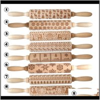 Pins Boards Bakeware Kitchen, Dining Bar Home & Garden Drop Delivery 2021 Eco Wooden Christmas Engraved Carved Embossing Rolling Pin Dough St
