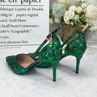 Dress Shoes Women's Sandals Green Crystal Wedding Shoe Thin Heel Pointed Toe Bridal Party Plus Size Ballroom Heels 2021 And Bag Set