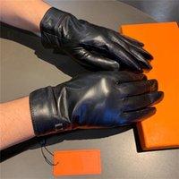 Freizeit Brief Designer Männer Lederhandschuhe Plus Samt Dicke Warme Handschuhe Outdoor Cycling Driving Winter Mitten Hohe Qualität mit Geschenkbox