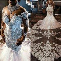 Sheer Malha Top Lace Sereia vestidos de casamento tulle applique frisado cristais mangas compridas vestidos nupciais com trem destacável