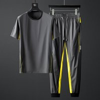 Men's Polos Summer Sports Suit Fast Dry Silk Smooth Lightweight Fabric Contrast Short Sleeve Casual Two Piece