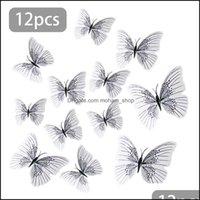 Aimants Décor Garden12pcs 3D Papillon Stickers muraux décalcomanie Art Art Magnet Magnet Décoration Home Haute Qualité Drop Drop Livraison 2021 45CFR