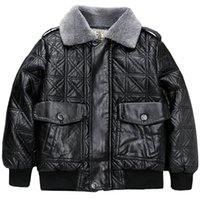 Elegant Kid Leather Jacket Thick Fur PU Coat For 2-10years Child Boys Girls Warm Outerwear Clothes Jackets