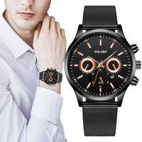 Sangle d'acier inoxydable en acier inoxydable de quartz de rond homme d'affaires de quartz-inoxydable montre miroir trempé Horloges Mannen F5 bracelets