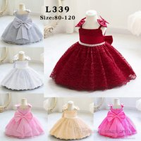 Infant kids christmas party dresses baby girls lace gauze embroidery Bows suspender dress children pearls belt Bows 1st birthday clothing Q2611