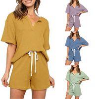 Women's T-Shirt Pajamas For Women Cotton Solid Pyjamas Sets Summer Sleepwear Home Clothes Room Wear Simple Homewear Pijama Verano Mujer Moda