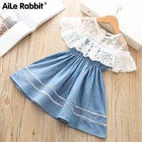 Kız Giysileri Elbise Denim Dantel Küçük Prenses Moda Kıyafet Butik Giyim Çocuklar için Çocuk Giyim 210802