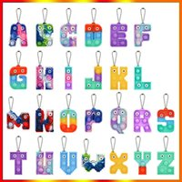 Chirstmas Alphabet Letters Pop Push Key-chain Party Favor Cell Phone Straps Silicone Letter Sensory Bubbles keyring Simple Dimple