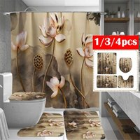Shower Curtains Lotus Floral Waterproof Bathroom Curtain Toilet Cover Bath Mat Non-Slip Rug Set Accessories With 12 Hook