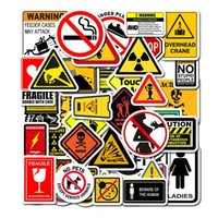 Fridge Magnets 50pcs Warning Sign Stickers For Laptop Motorcycle Skateboard Doodle Funny Waterproof Wallpaper Decals