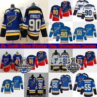 St. Louis Blues Jersey Stanley Cup Champions 90 Ryan O'Reilly 50 Binnington 91 Tarasenko 47 Torey Krug Schwartz Parayko Schenn Hockey Jerseys
