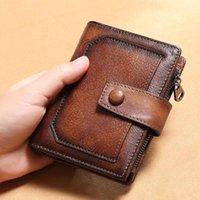 RFID جلد طبيعي محفظة الرجال مجنون الحصان محافظ عملة محفظة قصيرة الذكور المال حقيبة جودة مصمم مصغرة وحامل بطاقة حامل