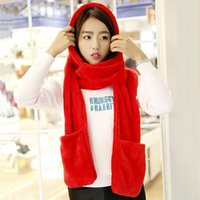 Hats, Scarves & Gloves Sets Fashion One Piece Hat Scarf Set Women Girls Winter Warm Casual Plush Hats Solid Color Multi-function