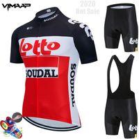Гоночные наборы 2021 Команда Lotto Soudal Велоспорт Джерси 19D Велосипед Шорты MTB ROPA Ciclismo Мужская Короткая Рукав Велосипеда Майлот Одежда