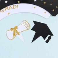 Altre forniture festive del partito 48pcs 2021 Graduazione Cupcake Toppers e Wrapper Glitter Torta di carta seleziona la decorazione della linea