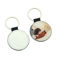 Double-sided Sublimation Blanks Keychain Party Favor PU Leather Key Chain for Christmas DIY Heat Transfer Keyring ZZA3368