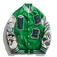남자 재킷 높은 거리 빈티지 Varsity 재킷 남성 여성 PU 가죽 스플 라이스 자수 야구 대학 스타일 커플 코트 대형