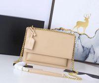 Designer de luxo Vannogg Sunset Crossbody Bags 442906 Bolsa de ombro de cadeia de couro genuíno mulheres bolsas bolsas de bolsa de bolsa de embreagem Pother Pattern Pattern Cowhide