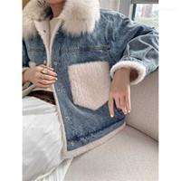 Fashion Trend Splicing Plush Long Sleeve Cardigan Coats Designer Female Winter Thicken Straight Outerwear Ladies Fur Collar Denim Jackets