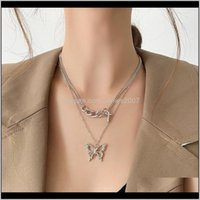 & Pendants Jewelryfashion Hip Hop Sier Color Metal Hollow Butterfly Pendant Necklace For Women Link Chain Double Layered Cross Chokers Neckla