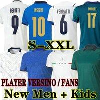 Bernardeschi 2021 إيطاليا Soccer Jersey لاعب Versino المشجعين 20 21 22 بعيدا الثالثة Jorginho Shaarawy Bonucci Insigne Home Football Shirts 2022 الرجال الكبار + أطفال كيت