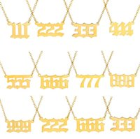 Personalized Gold Initial Number Necklaces for Women Girls Dainty Stainless Steel Chain Necklace Choker 111 222 333 444 555 666 777 888 999