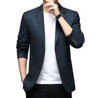 Men's Suits & Blazers Business Casual Blazer Men Quality Fashion Plaid Suit Jacket Slim Fit Single Breasted Coats Male