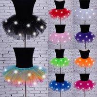 Faldas 5 capas Malla de Malla Tulle Princesa Falda con LED Pequeña Bombilla Especial Banda Casual Jupe Femme
