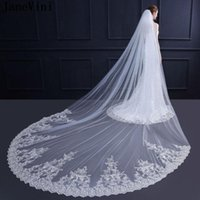 Bridal Veils JaneVini Luxury One Layer Cathedral Wedding Lace Applique Edge Ivory Tulle Long Veil With Comb Accessoir De Mariage