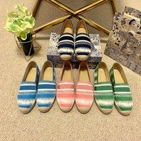 2021 clássicos mocassins espadrilles luxurys designers sapatos tênis lona e verdadeiro lambskin dois tons tampão de pé de moda mulheres sandálias marinho azul 35-41 com caixa