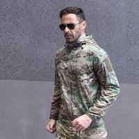 Hunting Jackets Outdoor Tactical Jacket Suit Man Breathable Jungle Camouflage Soft Shell Rainproof Coat