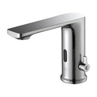 Automatic basin faucet deck mounted polished chrome mixer water cold ac 220v dc 6c battery power