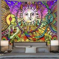색상 3D 태양 문 만다라 태피스트리 벽 매달려 천체 벽 태피스 트리 히피 벽 카펫 기숙사 장식 환각 태피스트리